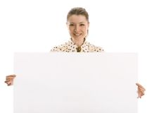 Business lady holding a blank sign Royalty Free Stock Image