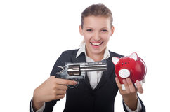 Business lady holding moneybox and gun isolated on Royalty Free Stock Photos