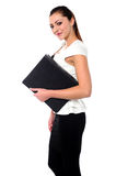 Business lady holding office files Royalty Free Stock Photos