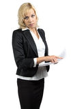Business lady holding paper sheet Stock Images