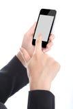 Business lady holding Smart phone Stock Photo
