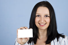 Business lady holding  visiting card Royalty Free Stock Photo