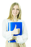The business lady holds the blue folder in hand Royalty Free Stock Photo