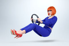 Business Lady In Blue Driver Car With A Wheel, Woman Driving Concept Royalty Free Stock Images