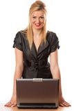 Business lady with laptop Royalty Free Stock Images