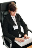 Business lady with  a laptop Royalty Free Stock Photo