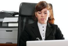 Business lady with  a laptop Royalty Free Stock Image