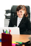 Business lady with  a laptop Royalty Free Stock Photography