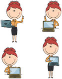 Business Lady With Laptop. Cute funny business ladies with laptop Royalty Free Stock Photos