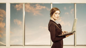 Business lady with laptop Stock Photos