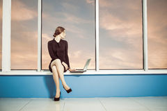 Business lady with laptop Royalty Free Stock Image