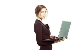 Business lady with laptop Royalty Free Stock Photos