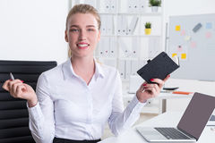 Business lady looking for new ideas Stock Images