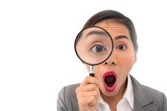 Business lady with magnifier Royalty Free Stock Image