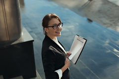 Business lady manager doing business plan. Business people concept. Stock Image