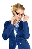 Business lady with mobile Stock Images