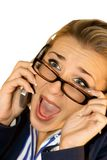 Business lady with mobile Stock Image