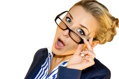 Business lady with mobile Royalty Free Stock Images