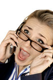 Business lady with mobile Royalty Free Stock Photo