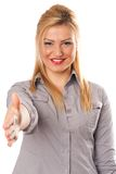 Business lady offering handshake Royalty Free Stock Photos