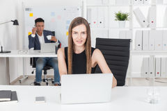Business lady in office Royalty Free Stock Photo