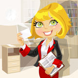 Business lady in office showing business card Stock Image