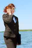 Business lady outdoor Royalty Free Stock Images