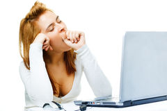 Business lady  over white frustrated with her comp Stock Photos