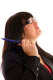 Business Lady with a pen Stock Photo