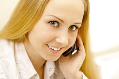 Business lady with phone. Royalty Free Stock Images