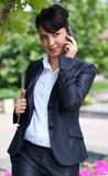 Business lady with phone Royalty Free Stock Photo
