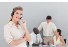 Business lady on phone. Young business lady on the phone Royalty Free Stock Photos