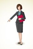 Business Lady pointing downward Royalty Free Stock Photography