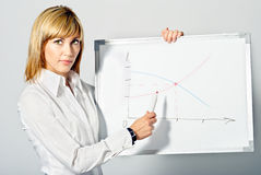 Business Lady pointing to Whiteboard Royalty Free Stock Image