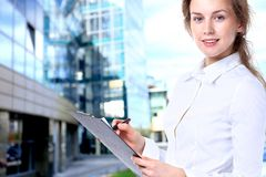 Business lady with positive look Royalty Free Stock Photo