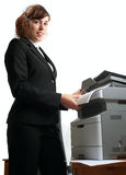 Business lady with a printer Stock Images