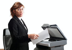 Business lady with a printer Stock Photo