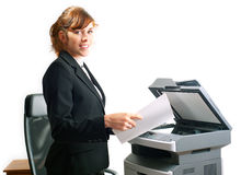 Business lady with a printer Royalty Free Stock Photos