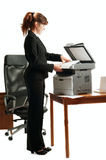 Business lady with a printer Stock Image