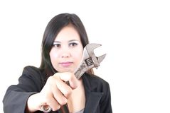 Business lady putting tool concept. Royalty Free Stock Photography