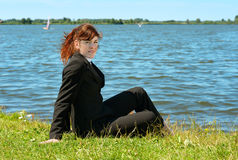 Business lady resting outdoor Stock Photo