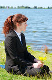 Business lady resting outdoor Stock Photos