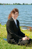 Business lady resting outdoor Royalty Free Stock Photo
