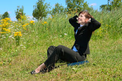 Business lady resting outdoor Royalty Free Stock Photography