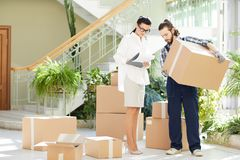 Business lady running moving staff royalty free stock image