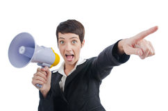 Business lady screaming to loudspeaker. Young business lady screaming to loudspeaker Royalty Free Stock Image