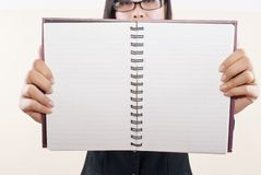 Business Lady Show Blank Notebook. Stock Photos