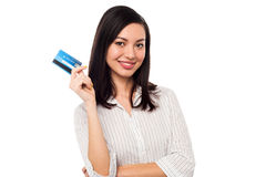 Business lady showing credit card to camera Stock Photo