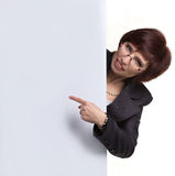 Business lady showing placard Royalty Free Stock Image