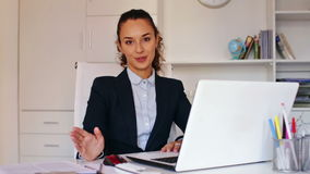 business lady sitting at office desk stock footage